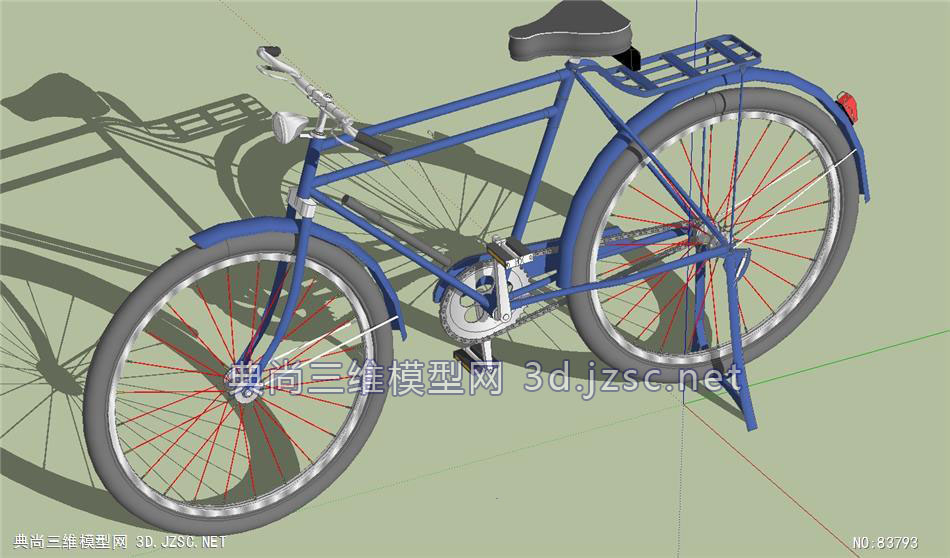 3d老式自行车单车su模型设计